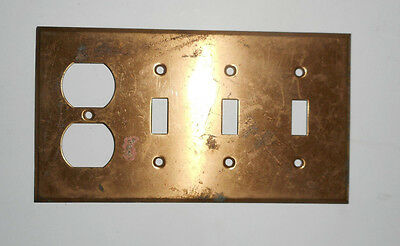 Vintage 3 Switch with electrical outlet Solid Brass  Plate
