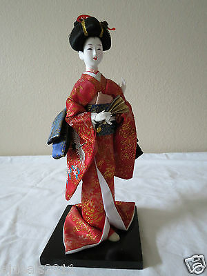 """Japanese Geisha Doll On Stand 13"""" W/ Silk Red/ Gold Brocade Traditional Dress"""