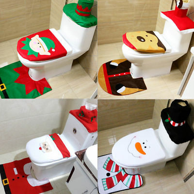 Santa Toilet Seat Cover Rug Bathroom Set Decoration Christmas Xmas Home Decor