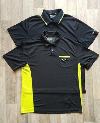 Lot of 2 Nike Dry Fit NIKE Fit Dry Polo Shirt Sz Large black yellow green