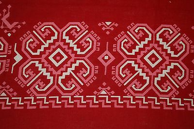 Vintage Handkerchief Western Cowboy Bandana Selvedge Fast Color Red Pink White!!