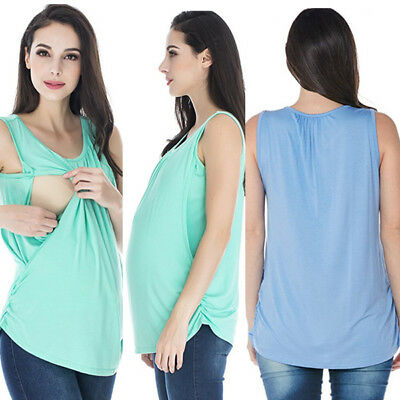 USA Striped Sleeveless Maternity Women Breastfeeding A-shirt S-XL Tops Blouse