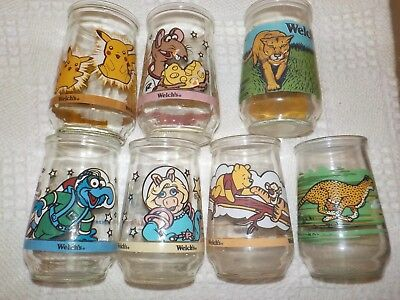 Set Of 7  VINTAGE Welches Jelly Glasses