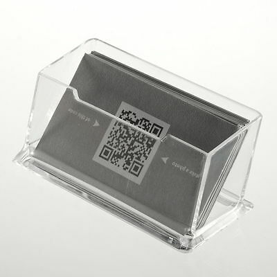 1pc Clear Desktop Business Card Holder Display Stand Acrylic Plastic Shelf Name