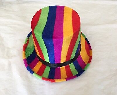 Rainbow Top Hat Novelty Fancy Dress Party Costume LGBT Carnival Mardi Gras