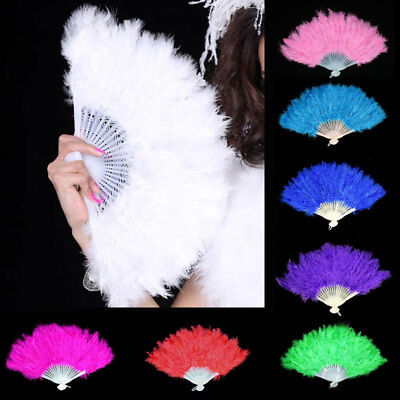 Simple Feather Fan Folding Hand Costume Wedding Showgirl Dance Fancy Party Multi