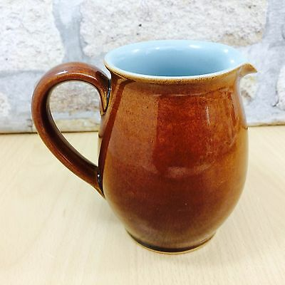 Vintage Denby Milk Jug Brown With Light Pale Blue Inside Stoneware