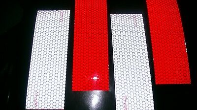 "4 Strips REFLECTIVE TAPE 2 red & 2 white  5 x 15 cm (approx. 2"" x 6"")"
