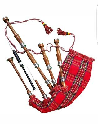 New Scottish Highland Rosewood Bagpipe Full Silver Mounts Free Carrying Bag