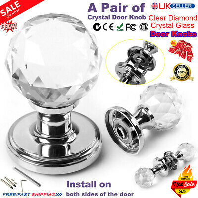 Pair Of Extra Large Clear Crystal Glass Room Door Knobs Kitchen Pull Handles UK
