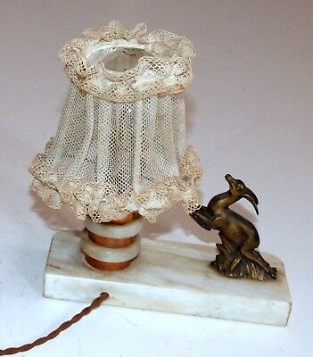 French Art deco lamp with bronze/spelter leaping deer statue on marble.  Works