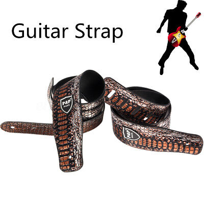 Adjustable Brown PU Leather Embossed Snake Guitar Strap Acoustic Electric Bass