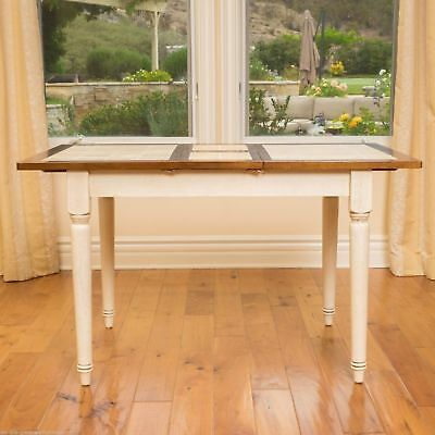 Antique White Dining Table with Leaf Extension Tile Accent Top Country Furniture