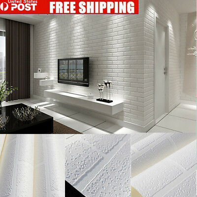 3D 10m Brick pattern White Textured Non-woven Flocking Wallpaper Wall Paper Roll