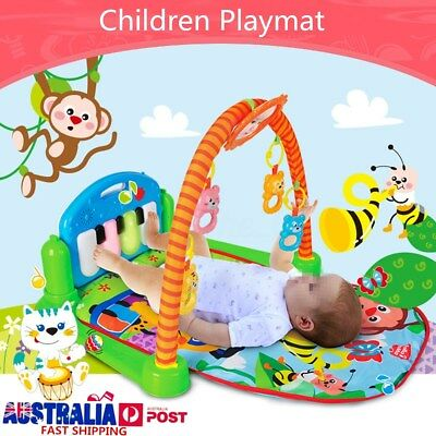 3-in-1 Cute Rainforest Musical Lullaby Baby Activity Playmat Gym Toy Play Mat