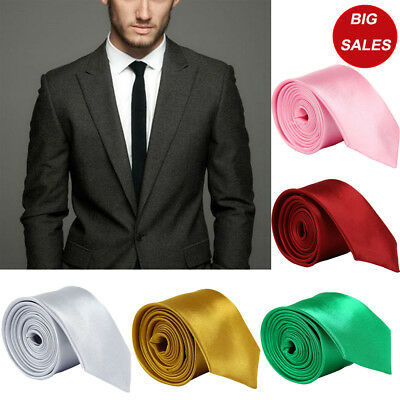 Premium Satin Solid Plain Necktie Classic Wedding Party Formal Men's Tie Necktie