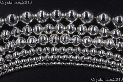 AAA Natural Hematite Gemstones Silver Round Beads 2mm 3mm 4mm 6mm 8mm 10mm 16''