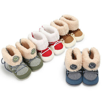 Fashion Baby Kids Boy Girl Winter Boots Toddler Soft Crib Shoes Snow Boots UK