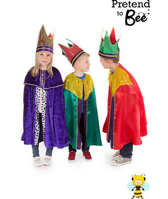 Kids Childrens Nativity King Wise Man 1 2 3 Cloak Costume + Crown Outfit Age 3-7