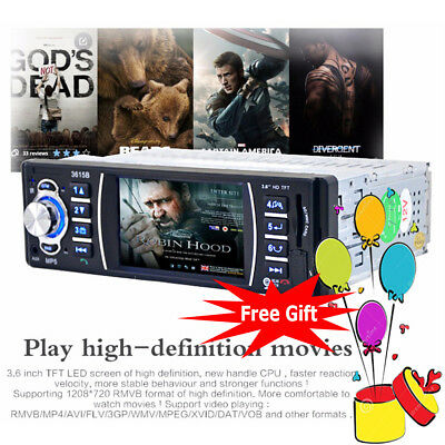 """3.6"""" TFT LCD Screen Car Stereo MP5 Player Bluetooth Audio 1 DIN FM AUX HD Movie"""