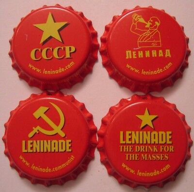 SET OF 4 LENINADE SODA POP BOTTLE CAPS, UNUSED PLASTIC-LINED, A true set.