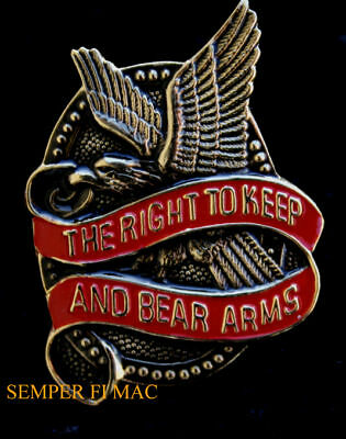 The Right To Keep & Bear Arms Lapel Hat Pin Up Us Army Marines Navy Air Force