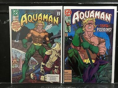 Lot of 2 Aquaman #1 2 (1991 Series DC) Combined Shipping Deal!