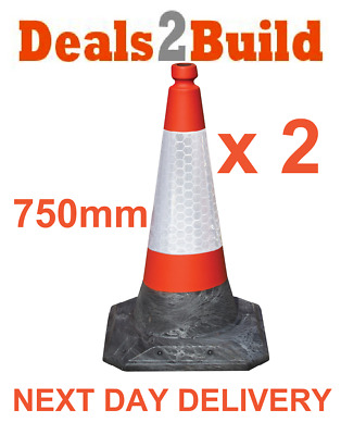 "Pack of 2 - Road Traffic Cones 24"" (750mm) Safety Cone NEXT DAY DELIVERY"