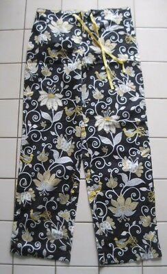 VERA BRADLEY Black Floral CASUAL Elastic LOUNGE PANTS with Roll Up Leg XS