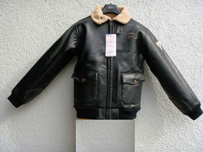 jungen winterjacke gr 152 schwarz aus kunst leder piloten flieger bomber jacke eur 19 95. Black Bedroom Furniture Sets. Home Design Ideas