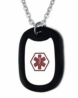 Custom Engraving Stainless Steel Medical Alert ID Dog Tag with Silence Necklace