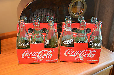 lot of 12 coke Coca-Cola 11 Bottles @ 6-1/2 oz green 1 seasons greetings 8 oz