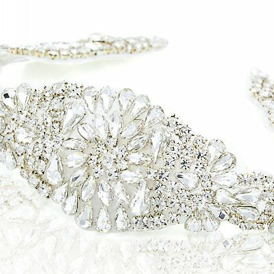 Rhinestone Bridal Applique, Crystal Applique for Wedding Sash, Beaded Belt, Belt