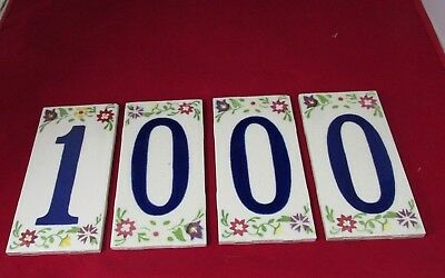 """4 Lot Vintage House Numbers Address Ceramic Tiles Made In U S A 3"""" By 6"""" 1000"""