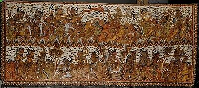 Fine Old Balinese Indonesia Kamasan Village area painted Ramayana Textile 20th c