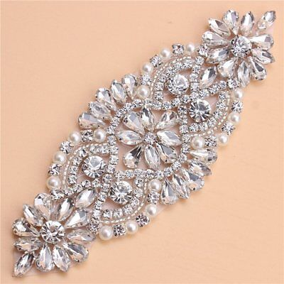 Crystal Rhinestone Applique with Pearls for Bridal Belt Wedding Dress Garters
