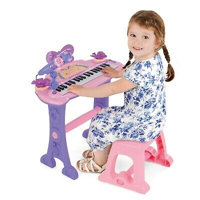 Girls Kids Musical Pink Electronic Keyboard Toy With Microphone Stool MP3 37 Key