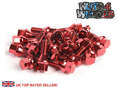 20 x Red Alloy Wheel Bolts M12x1.5 fits BMW M3 E36 E46 (Steel Bolts)