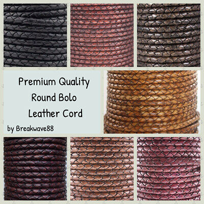 Genuine Round Bolo Braided Leather Cord 5 mm 1 Yard - 22 Color Choise