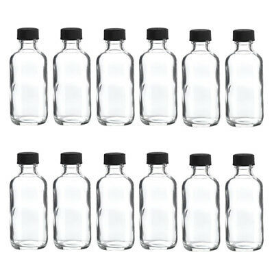 Boston Round Glass Bottle with Cap, 2 oz Capacity, Clear (Pack of 12)