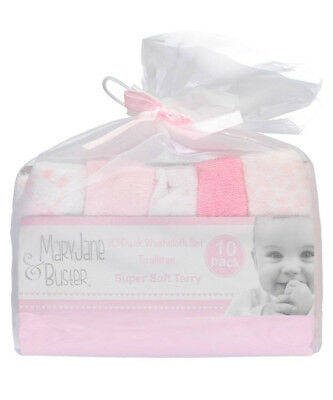 """Mary Jane & Buster """"Floating Hearts"""" 10-Pack Terry Washcloths"""