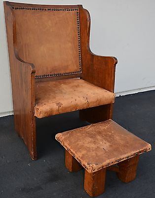 Antique Arts and Crafts Oak Chair Mission Craftsman Wylie Lochhead Scottish RARE