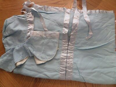 vintage 1940s 1950s baby bunting snowsuit with hood BLUE SILKY