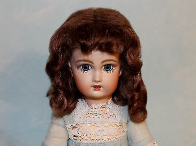 Dee Light Brown mohair doll wig for antique French or German doll Size 16