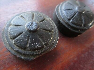 Pair Antique Carved Wood small Rosette Piece Round Molding Medallion Walnut