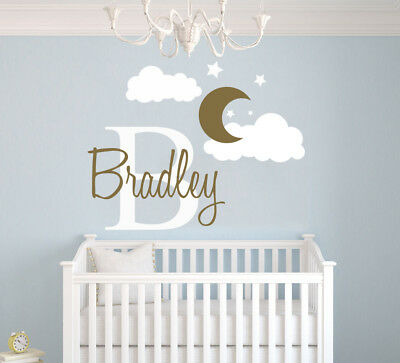 Custom Name & Initial Moon & Clouds - Nursery Wall Decal For Baby Girl/Boy Room