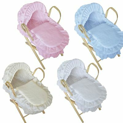Broderie Anglaise Moses Basket For Baby Dolls with Stand Best Girls Xmas Present
