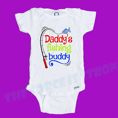 Cool Baby Onesie®  Funny. Daddy's Fishing Buddy. Gift. Cute. White Baby Onesies®