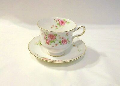 """Avon Vintage Cup and Saucer """"Pink Roses"""" 1974 Fine Bone China made in England"""