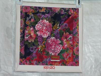 Kenzo Paris Cotton Scarf Boxed 2/Set Florals in Blue and Red